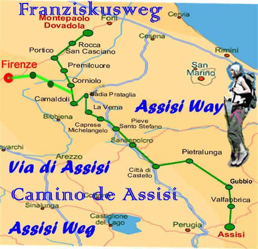 landkarte italien assisi Pilgerweg nach Assisi   Franziskusweg italien Karte
